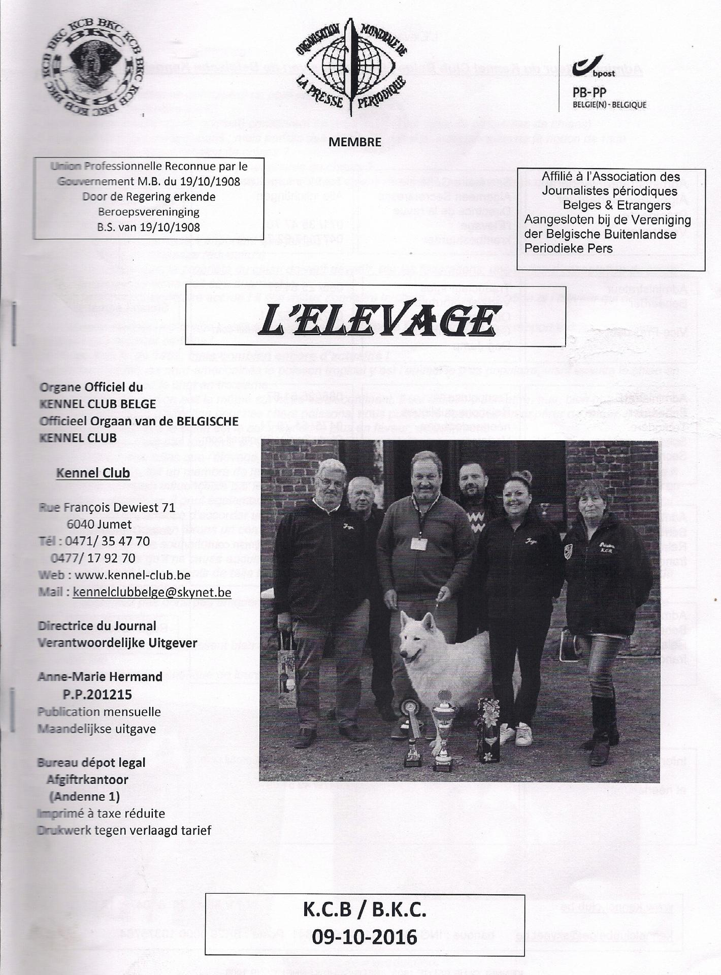 Magazine l'Elevage Kennel club